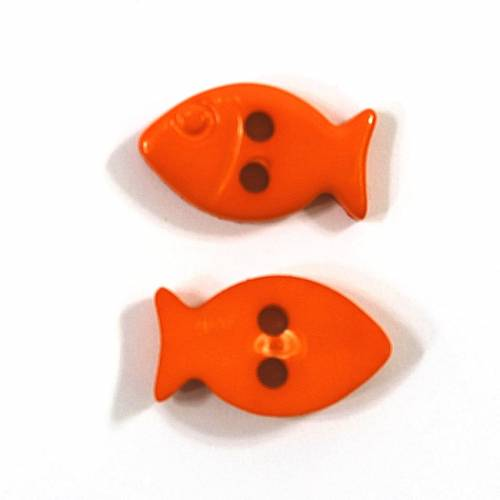 Kinderknopf Fisch orange rot